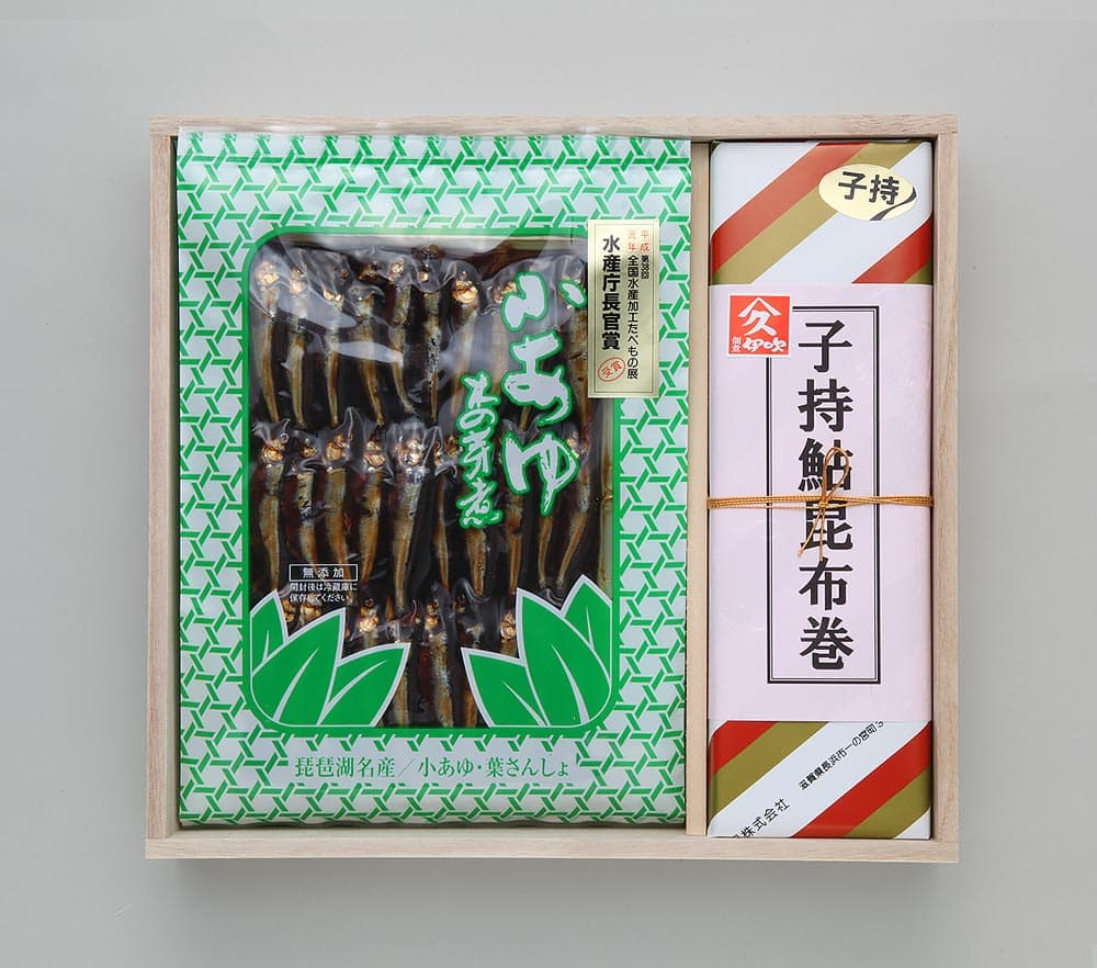 子持ち鮎巻箱入1箱・小鮎木の芽煮(大)3袋